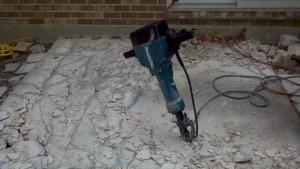 Jackhammer in concrete
