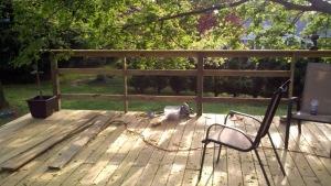 A bar height railing on a DIY deck
