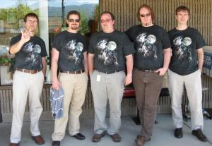 Three Wolf Moon Tee Shirt featuring Kirk Allmond's doppleganger