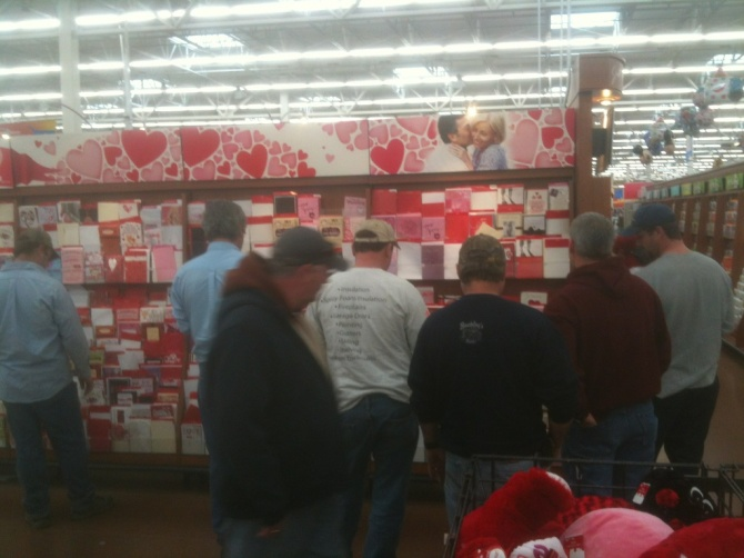 Walmart, 4:30 PM, Valentines Day.